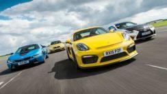 Porsche Cayman GT4 vs BMW M4 vs BMW i8 vs Lexus RC F Drag Race