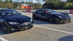 Tesla Model S vs Ferrari F12 Drag Racing