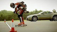 Aston Martin V8 Vantage vs Jet Powered Rollerskates