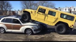 Crushing a Chrysler PT Cruiser with a Hummer